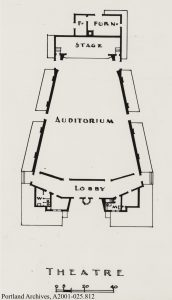 Footprint of theater architectural rendering.