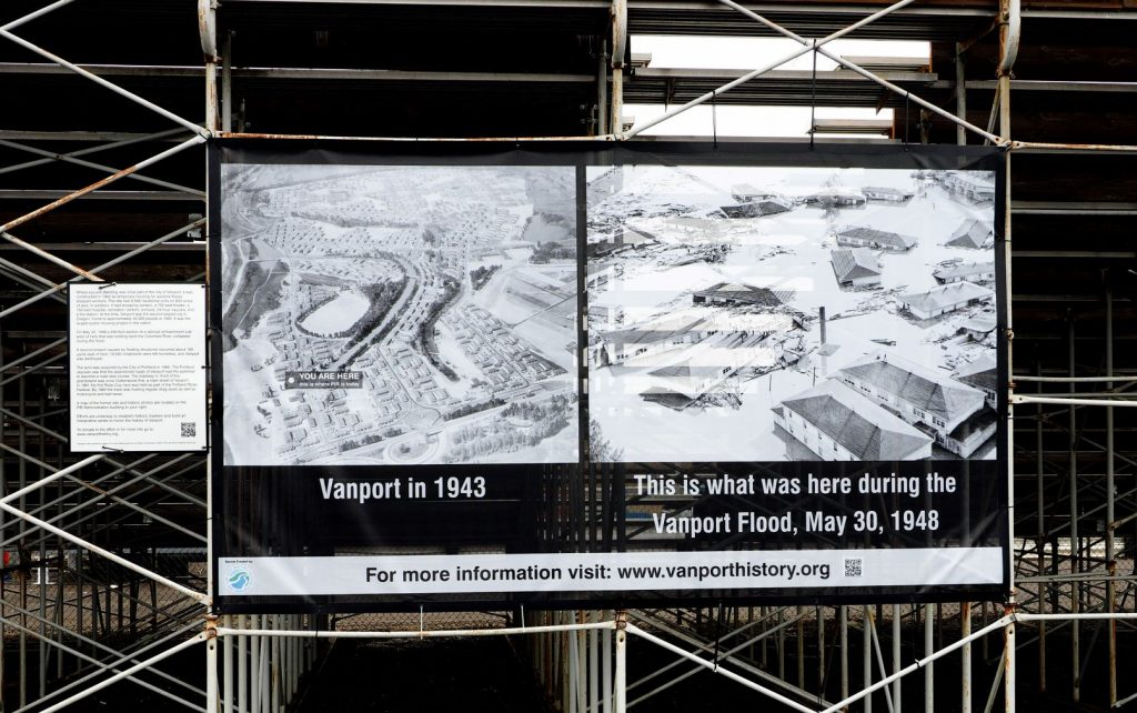 Banner showing B&W arial images of Vanport on the left 1943 on the right flood of 1948.