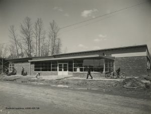 Vanport City post office during construction