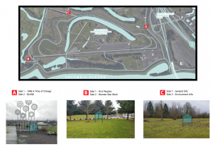 A map of the current site indication with ghost signs where the 3 physical signs. Two of the signs are double sided.