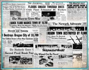 Back of sign: a collage of newspaper headlines